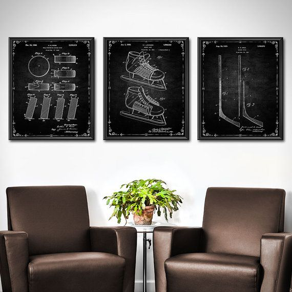 Ice Hockey Decor Wall Art – Set of 3 – Hockey Wall Decor – Hockey Print Patent Print – Patent Wall Art Poster Sports Decor 1423