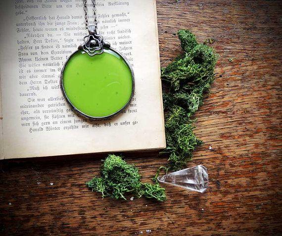 green glass wonderful glass STATEMENT pendant Handmade by MARIAELA, $37.00