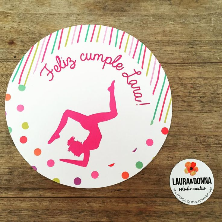 Topper para torta / Cumpleaños Lara / Fiesta / Gimnasta / Gimnasia / Rosa / Decoración / Cake topper / Birthday party / Gym / Girl / By LAURA&DONNA / Contact us: lauraydonna@gmail.com