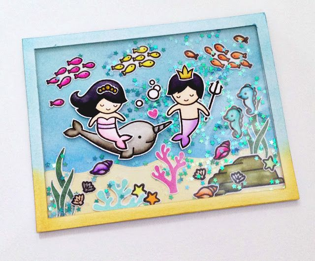 the Lawn Fawn blog: Under The Sea card by Lia Jessica (using Mermaid for You)