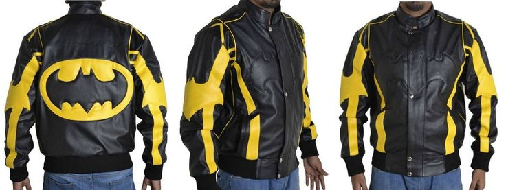 Inspiring from the Batman Character Xtreemleather present Batman Black & Yellow Leather jacket to all batman Fans. This Tremendous jacket has craft with well furnish Synthetic Leather, it has Yellow Strips on shoulder and batman Logo emboss at the back. Our professional designer creates this jacket to our valuable customer in discounted price.