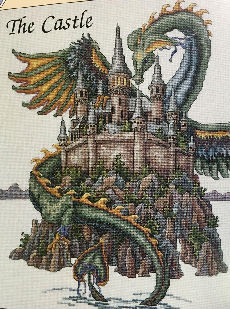 Dreamscape, The Castle, Teresa Wentzler, Cross Stitch Pattern, Castle, Fantasy, Dragon, Cross Stitch, Dragon Pattern, Detailed by debbyandjos on Etsy