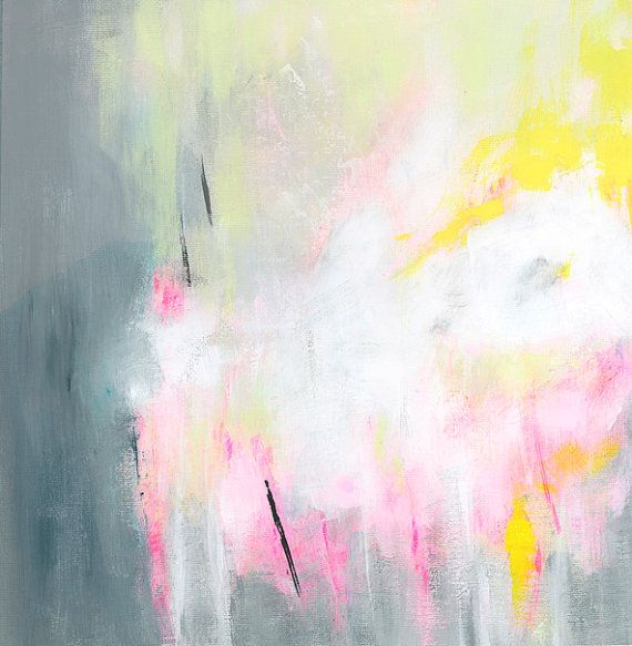 Grey Yellow Pink Original Abstract Painting 12x12 by DUEALBERI
