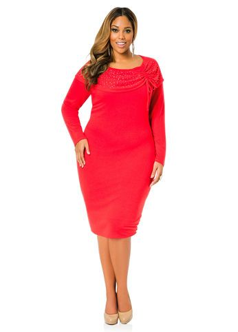 Red plus size church dress