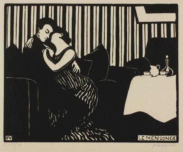 The Lie, Felix Vallotton, 1897,  Swiss 1865-1925 Woodcut works