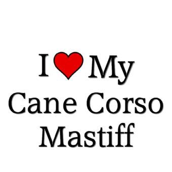 "For me it should say, ""I ♥ my Cane Corso Mastiff's"" .... Butkus & Iggy"
