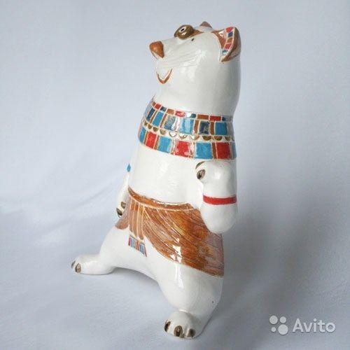 """Скульптура """"Кот-египтянин"""". Глазурованная керамика, ручная лепка и роспись, высота 21 см"""