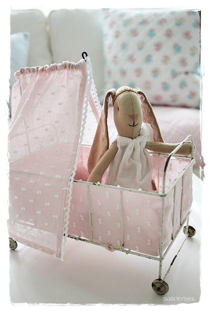 Maileg bunny in a vintage pram - toddler girls toy