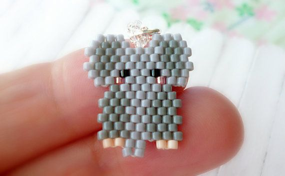 Grey Elephant Seed Bead Pattern Beaded Charm Brick by BeadCrumbs
