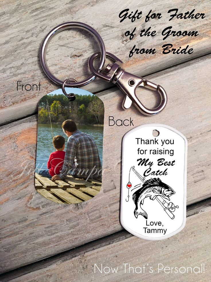 FATHER of the GROOM GIFT, from bride - Fishing theme -Bride's gift to father in law on wedding day - photo key chain, father of groom gift by NowThatsPersonal on Etsy