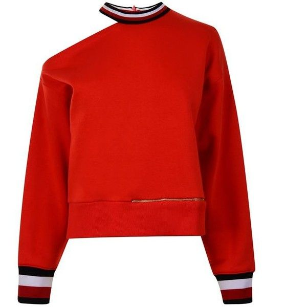 Tommy X Gigi  Open Shoulder Sweatshirt ($165) ❤ liked on Polyvore featuring tops, hoodies, sweatshirts, red, long sleeve sweatshirts, cotton sweatshirts, long sleeve cold shoulder tops, zipper sweatshirt and red top
