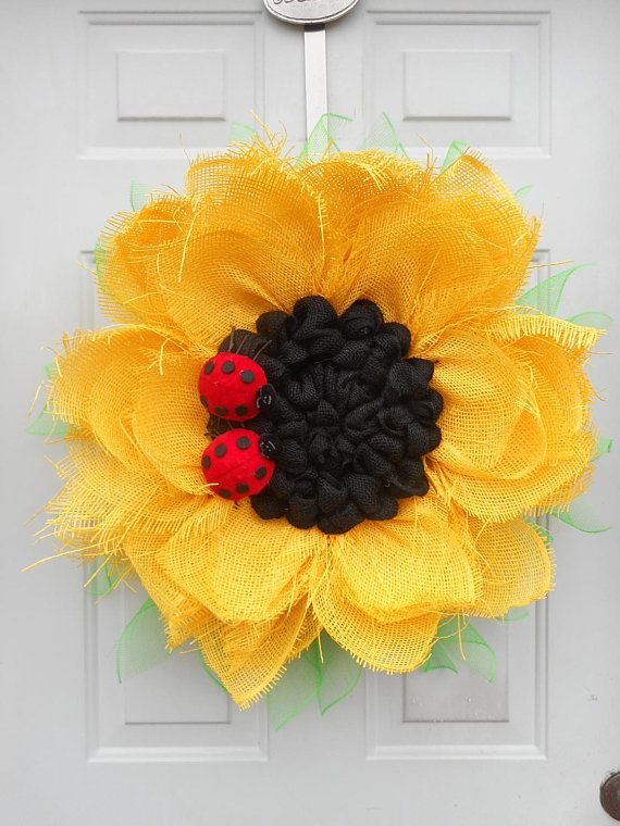 Yellow Sunflower wreath Paper Mesh Sunflower wreath Lady bug