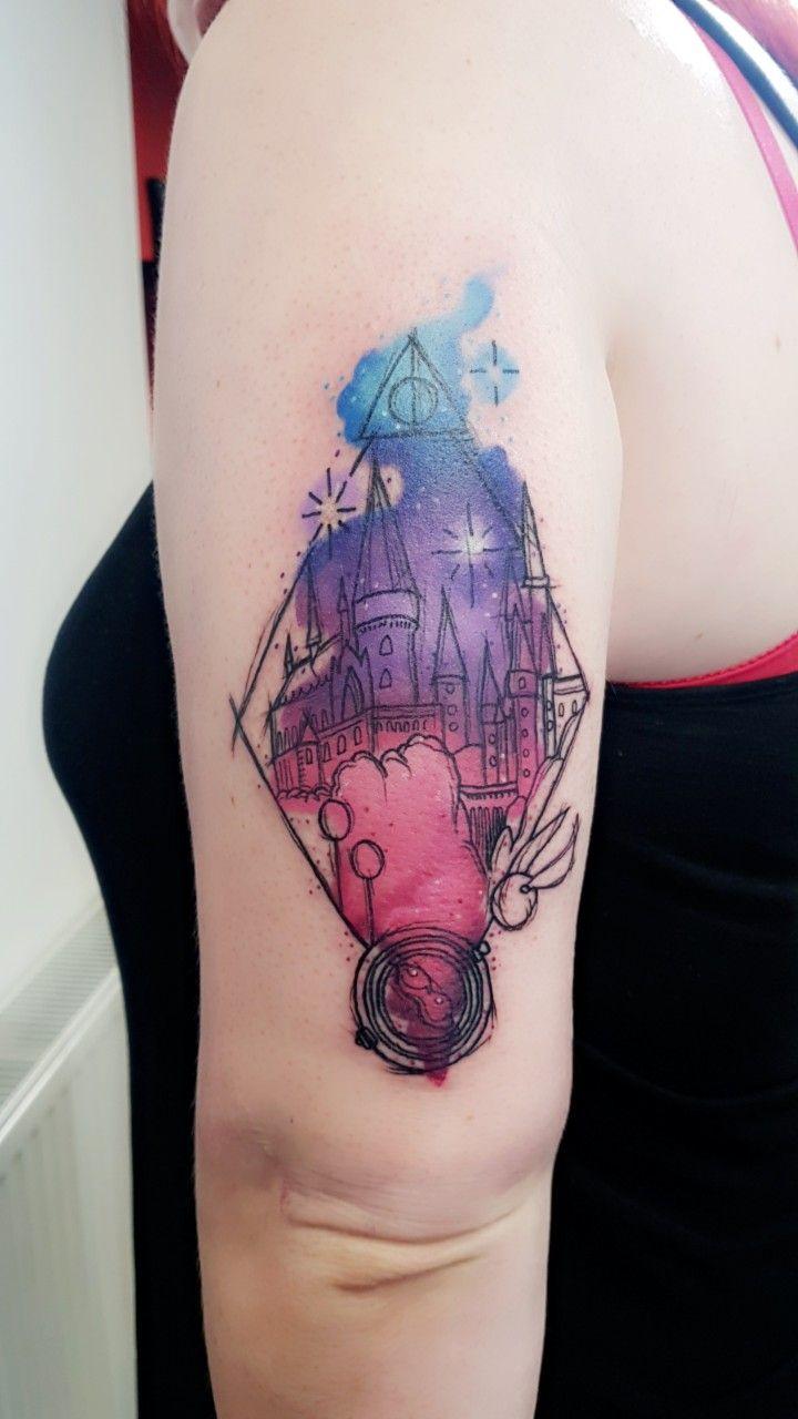 Hogwarts Castle Tattoo Watercolour Castle Tattoo Hogwarts