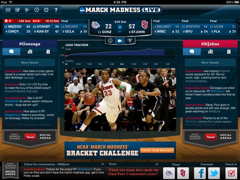 NCAA® March Madness Live (iOS, Android,  FREE) just hit the App Stores promising live radio access to every NCAA College Basketball Tournament game. Upgrade with in-app purchase and watch live streaming video of all 67 games every game of the 2012 NCAA Division I Men's Basketball Tournament for one low price of $ 3.99 for all 67 games