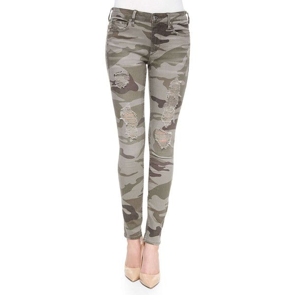 True Religion Halle Distressed Skinny Jeans (280 CAD) ❤ liked on Polyvore featuring jeans, bottoms, destroyed camo, super skinny jeans, skinny jeans, mid rise skinny jeans, cropped skinny jeans and brown jeans
