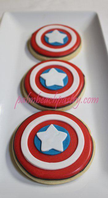 Captain America super hero Decorated Sugar cookie party pop favors 1 Dozen (12) on Etsy, $39.00