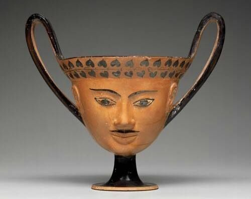 Greek Kantharos with Satyr mask, Miletus, circa 550 BC.                                                                                                                                                      More