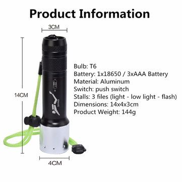 Elfeland XM-L T6 2800LM 3modes Waterproof Diving LED Flashlight 18650/AAA Sale - Banggood.com