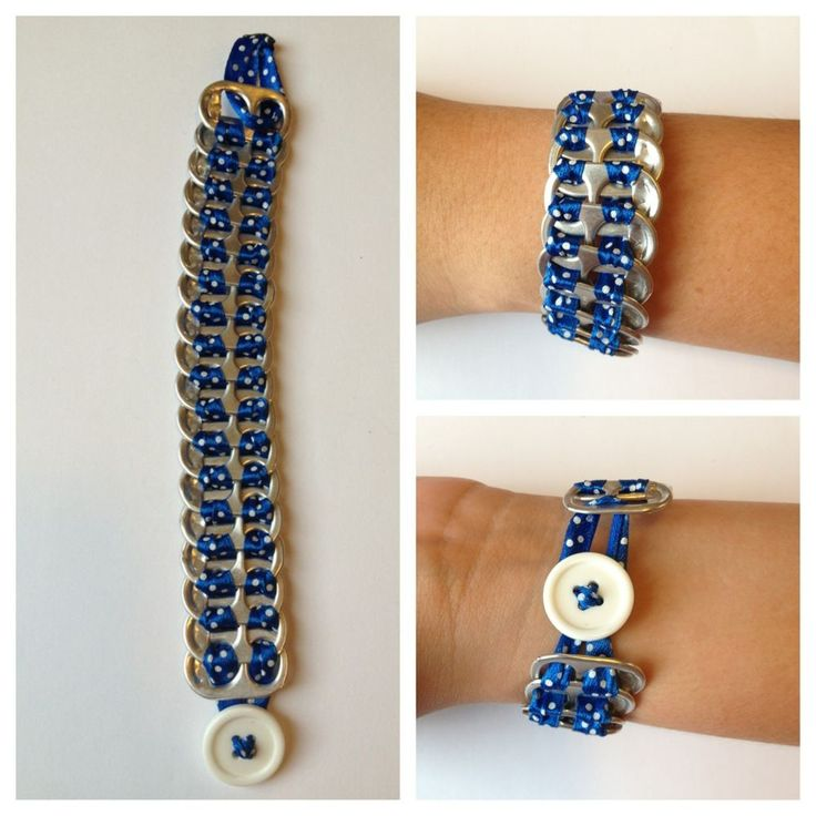 Brand New Upcycled Pop Tab Bracelet Blue & White Polka Fashion Jewelry Very Cool in Crafts, Handcrafted & Finished Pieces, Other Handcrafted Pieces | eBay