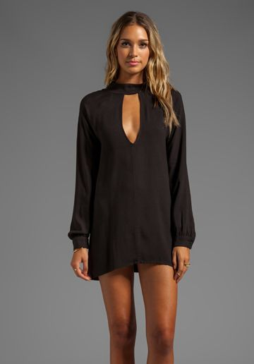 Loose black long sleeve dress