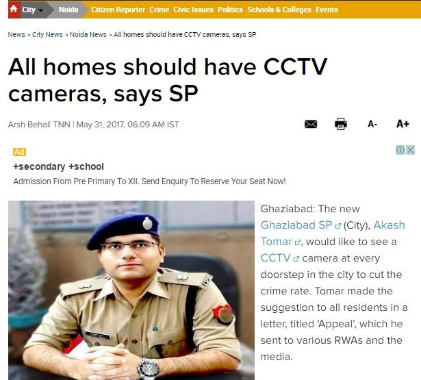 Ghaziabad SP Akash Tomar appealed to residents to think about employing #technology to protect their homes, to protect their loved ones. He urged them to use deterrents like #CCTVCameras outside each and every home so that not only do we have the evidence in investigating and serving justice, but we can also scare off potential criminals. Read more at: https://goo.gl/hdx9qs