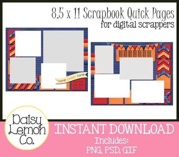 8.5 x 11 Digital Scrabook Quick Pages, Pre-made scrapbook pages, Home Sweet Home, Red, Blue, Orange, PNG, PSD, GIF