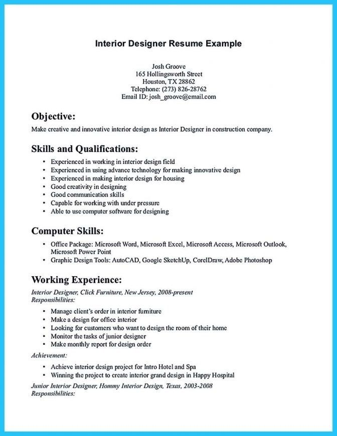 Pin On Resume Samples Architect Sample Interior Design Resume Design Interior Design Resume Template Graphic Design Resume