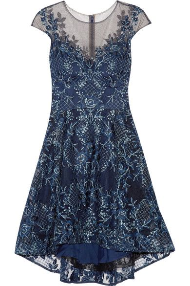 Marchesa Notte - Asymmetric Embroidered Tulle Mini Dress - Navy - US10