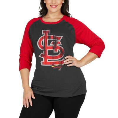 St. Louis Cardinals Majestic Women's Plus Size Winning Team Raglan T-Shirt - Gray/Red