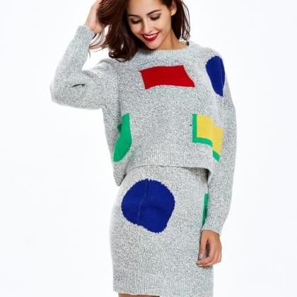 Two-Piece Sweater Mid-Length Grey Pullover Thick Sweater Dress