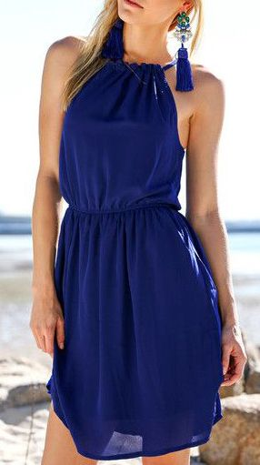 Navy Pleated Flowy Dress - Cutout Back With Button Closure