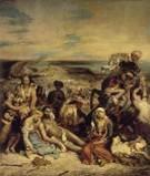 키오스 섬의 학살은 오스만투르크 지배 하에 있던 그리스인이 저항을 하다 대대적으로 학살 당하는 모습을 그린 작품이다. 말을 탄 오스만투르크인과 저항할 힘도 없이 널브러져 있는 그리스인들이 잘 대조되며 이들의 일방적인 관계, 그리스인의 슬픔과 절망을 잘 보여주고 있다.