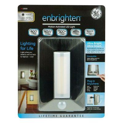 General Electric - Enbrighten Led Plug-In Motion Sensing Light - Brushed Nickel