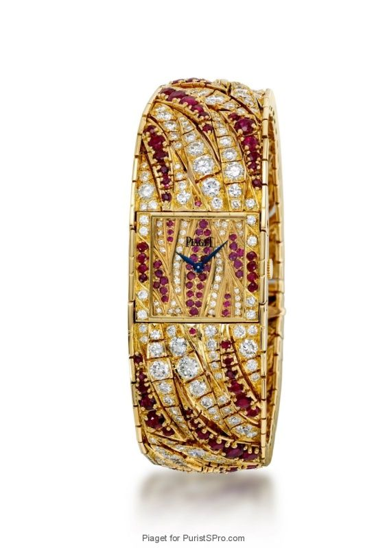 Piaget vintage jewelery watch with rubies and diamonds housing caliber 4P.