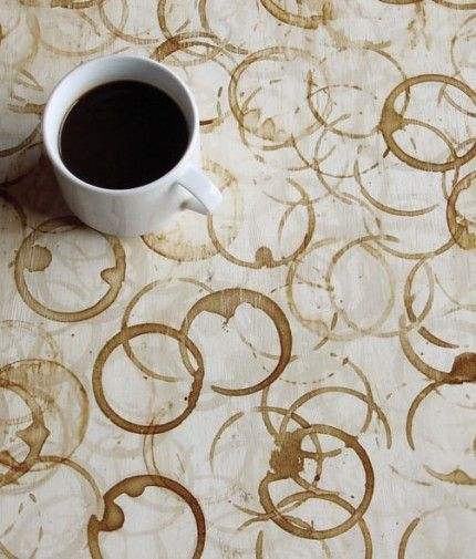Coffee-stained Table, on purpose. love this idea for making big cheap wall art for the kitchen.