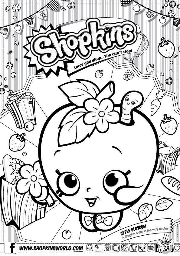 Shopkins Coloring Pages Season 1 Apple Blossom Shopkins Party
