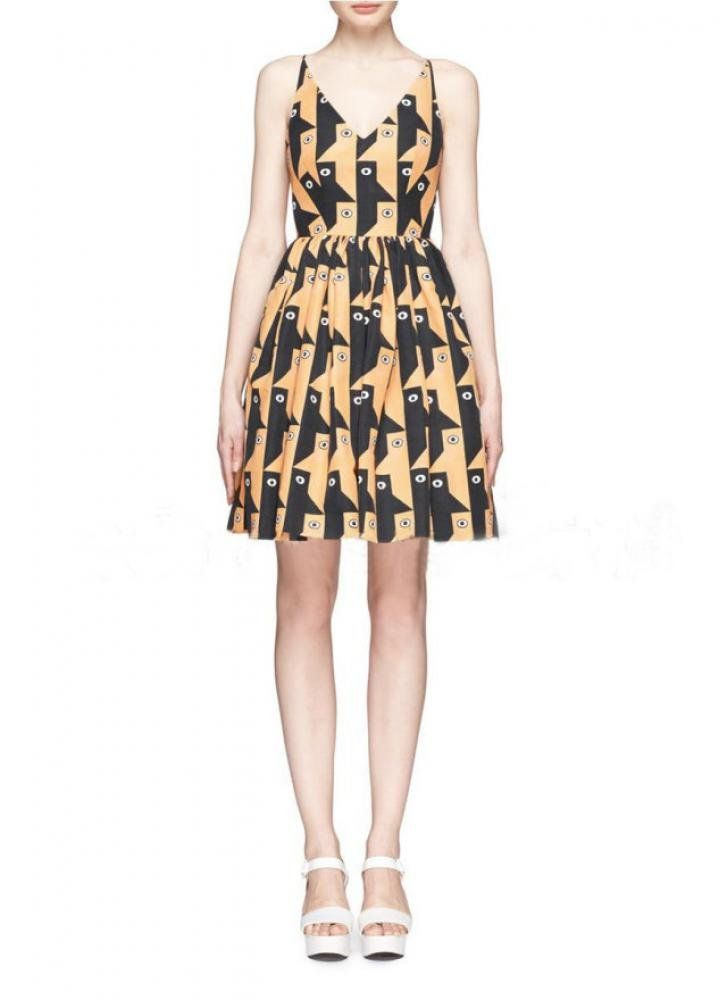 Women's Suspender Penguin Printing Pleated Dress at Amazon Women's Clothing store: