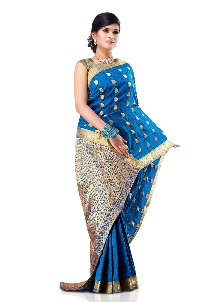 Buy peacock blue jacquard art silk saree online in india for Buy art online india