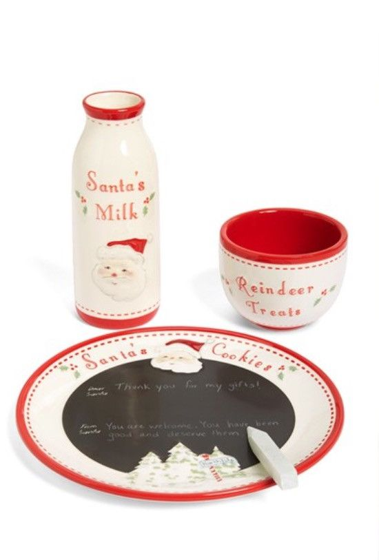Your little one can leave fresh cookies for Santa on this adorable plate, put some treats in the bowl for his reindeer and maybe add some milk to the bottle for Santa. A wonderful set which can be use
