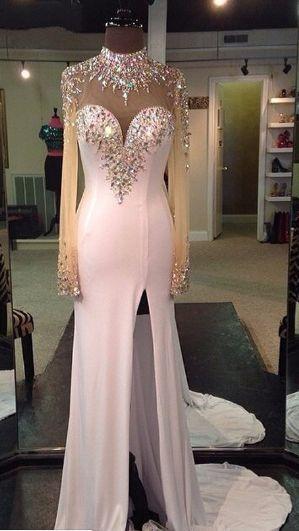 Long Sleeve Prom Dress,Crystal Mermaid Evening Dress,High Low