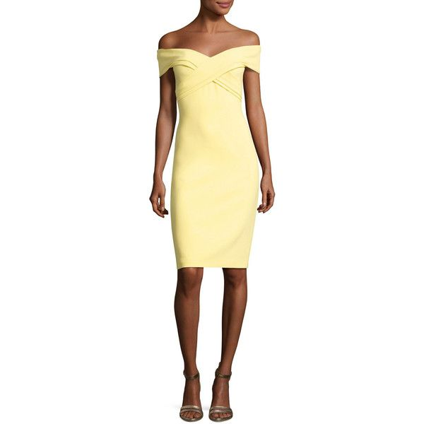 Theia Off-the-Shoulder Sweetheart Cocktail Dress (1,990 ILS) ❤ liked on Polyvore featuring dresses, yellow, beige cocktail dress, theia dresses, beige dress, form fitting cocktail dresses and yellow off the shoulder dress