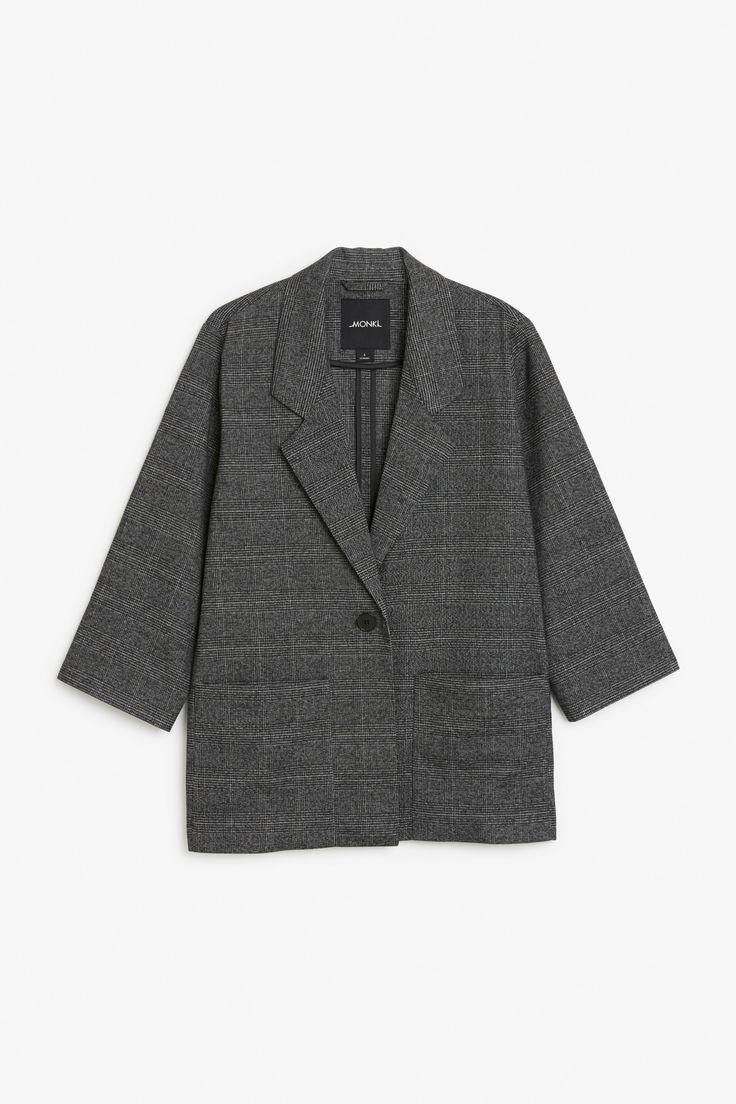 Monki Image 1 of Long blazer in Grey