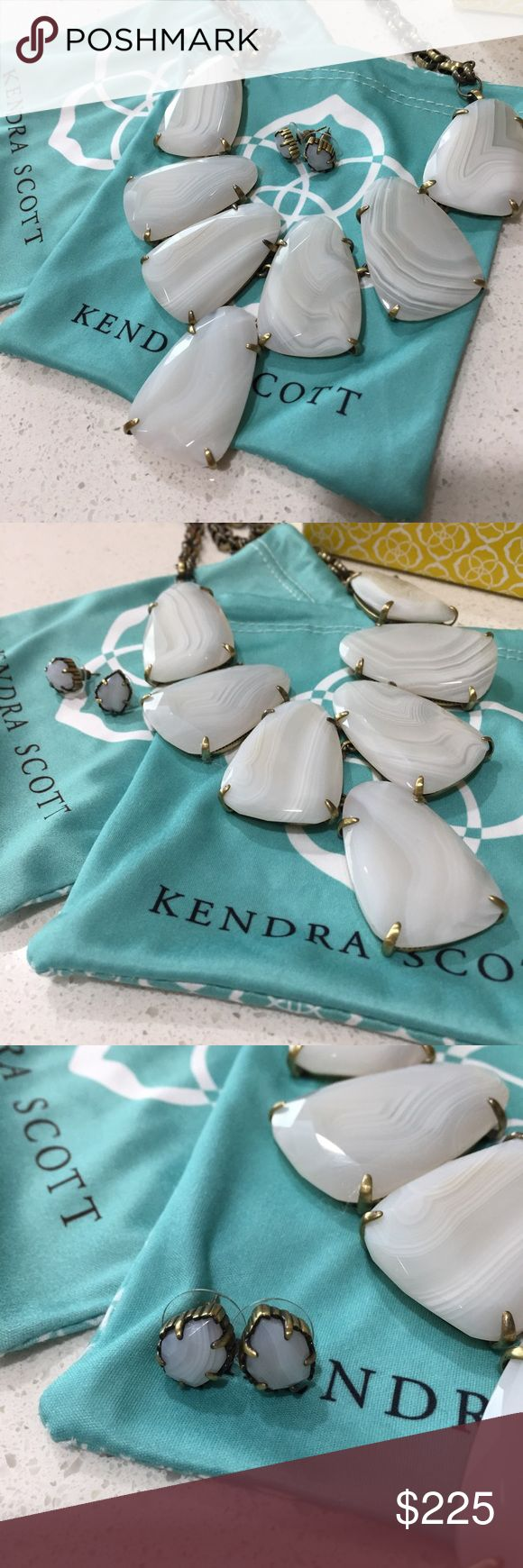 Kendra Scott Harlow and Tessa Kendra Scott Harlow necklace and Tessa earrings in white banded agate and antique brass, EUC. Earrings were only worn once! Includes two dust bags and one big gift box. Kendra Scott Jewelry Necklaces