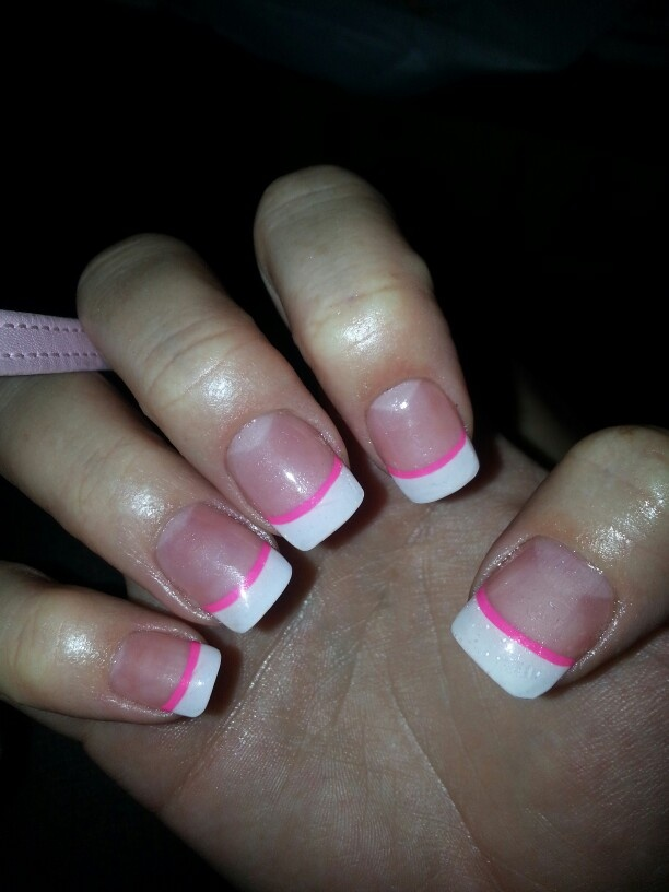 Pink and white french tips with hot pink design I did those before. I did t  | Cool Nails | Nails, French tip nails, French tip nail art - Pink And White French Tips With Hot Pink Design I Did Those Before