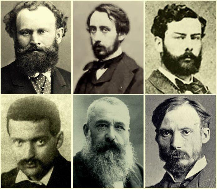 """Les Impressionnistes: Édouard Manet, Edgar Degas, Alfred Sisley, Paul Cezanne, Claude Monet, Pierre-August Renoir. """""""