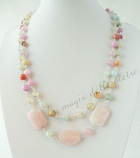 Collana di quarzo | La magia delle pietre #collana #collier #necklace #quarzo #quartz #quarzorosa #beads #handmade #bijoux