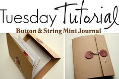 button and string mini journal DIY