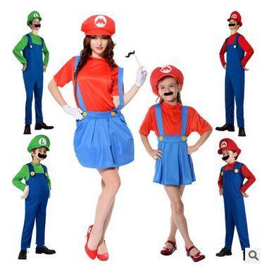 Детей семьи Funy косплей костюм супер марио луиджи братья водопроводчик костюмированный Up ну вечеринку костюм симпатичные дети костюм