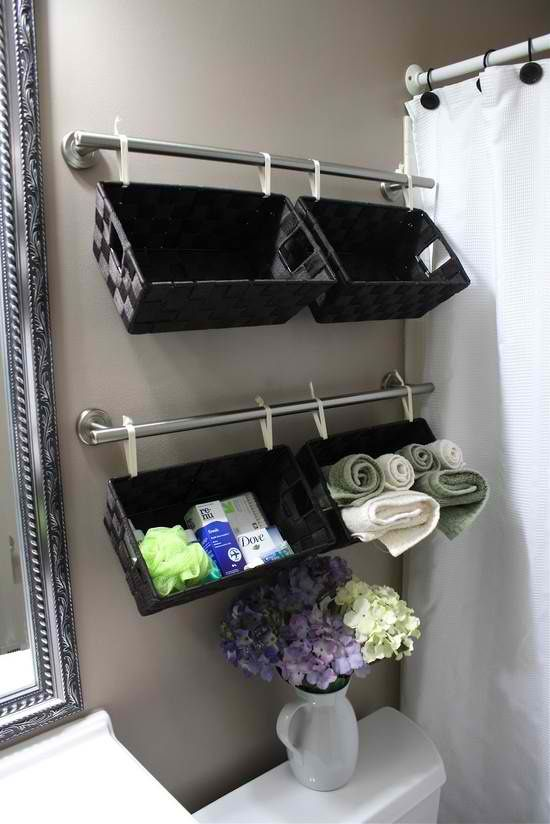 DIY Smart And Small Bathroom Storage. I love this idea of the magnet makeup