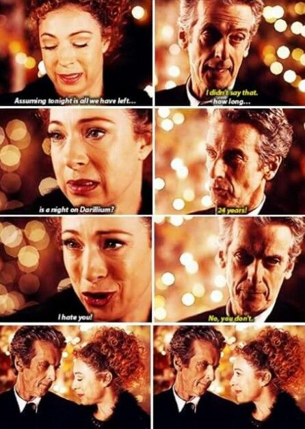 "ksc It's always been ""I hate you"" equaling ""I love you"" between the Doctor and River ☺♥♥"